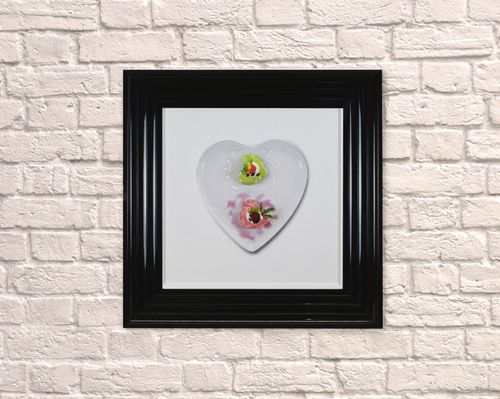 Small Heart Dessert Black 55cm Frame 3D Artwork